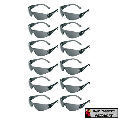 12 PAIR PACK Protective Safety Glasses Grey Smoke Lens Sunglasses Work Lot of 12