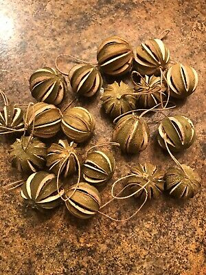 19 Primitve Dried Green Orange Ornaments