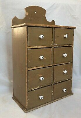 Original Olive Green Painted Eight 8 Drawer Hanging Spice Cabinet Box