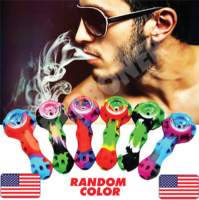 4-5 SILICONE TOBACCO SMOKING HAND PIPE GLASS SCREEN W TOOL N CONTAINER 🥴️💥🆕