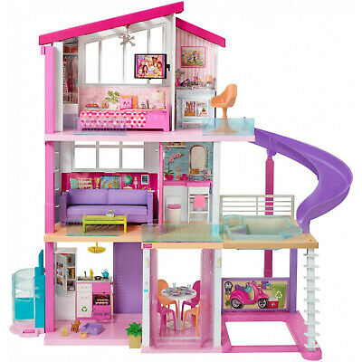 NEW Barbie Dreamhouse Dollhouse with Pool Slide Elevator and 70- Pieces Playset