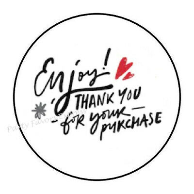 30 ENJOY THANK YOU FOR YOUR PURCHASE ENVELOPE SEALS LABELS STICKERS 1-5 ROUND