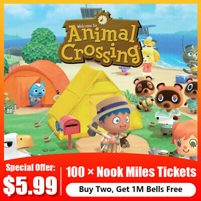 NS Nintendo Switch Animal Crossing New Horizons - 100 × Nook Miles Tickets