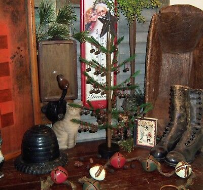 Primitive Antique Vtg Style 17 Feather Christmas Jingle Bell Tree Tin Star Deco