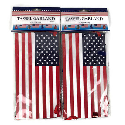 Lot of 2 Fourth of July Patriotic Decorations Flag and Tassel - Red White Blue