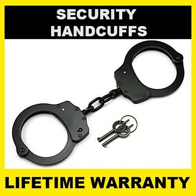 SECURITY Handcuffs Professional Double Lock Heavy Duty Metal Steel - BLACK