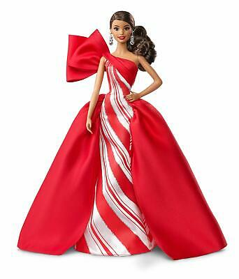 Barbie 2019 Holiday Doll 11-5-Inch Wavy Brunette Wearing Red and White Gown