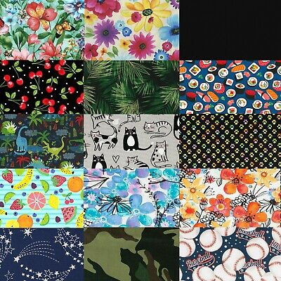 100 Cotton Fabric Solids and Florals by the Yard - DIY Homemade Face Mask