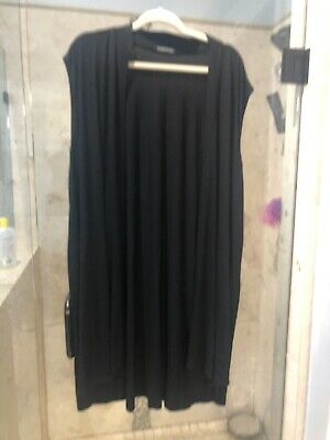 Eileen Fisher Black Tunic Top Sz XL Open Front Pockets duster stretchy