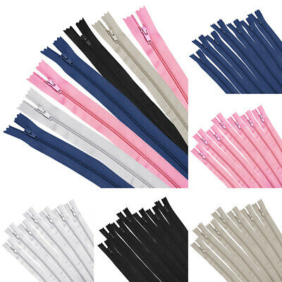 50pcs 9-24 Nylon Coil Zippers Bulk CLOSE END Zipper for Tailor Sewing Craft