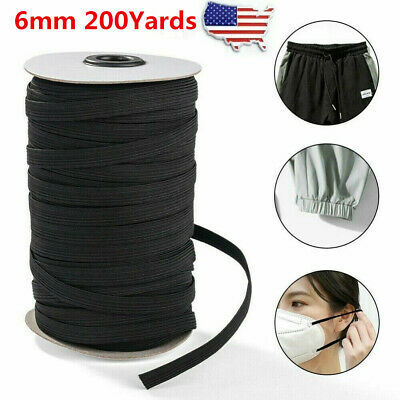 200 Yards 14 inch 6mm Black Braided Elastic Band Knit Cord Sewing Face Mark