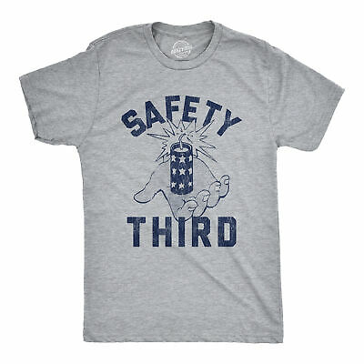 Mens Safety Third Tshirt Funny 4th of July Fireworks Show Summer Graphic Novelty