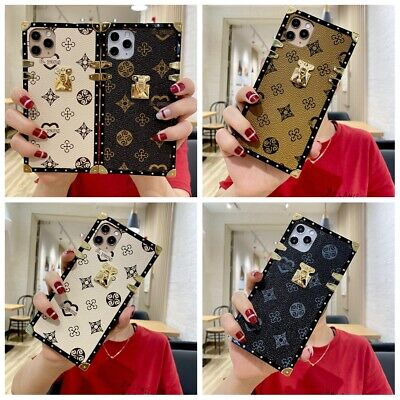 For iPhone 11 Pro XS MAX XR 6 7 8 Luxury Leather Flower Skins Square Case Cover