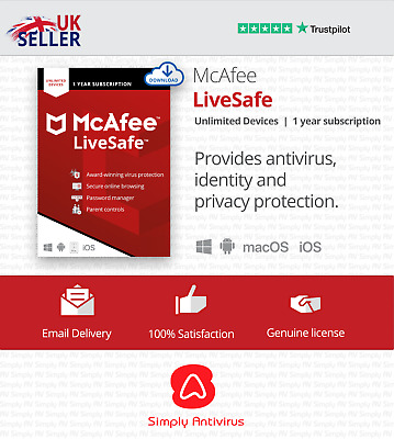 McAfee LiveSafe 2021 Unlimited Multi Devices 1 Year- 5 Minute Delivery by Email