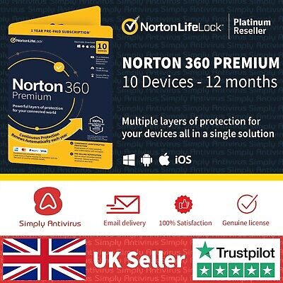 Norton 360 Premium 2021  10 Devices  1 Year - Secure VPN 5 Min Email Delivery