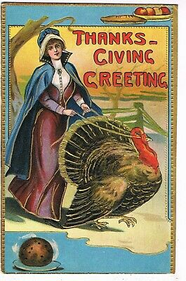ANTIQUE EMBOSSED THANKSGIVING Postcard   PILGRIM LADY WITH TURKEY ON LEASH