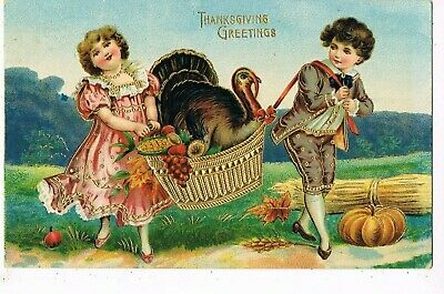 ANTIQUE EMBOSSED THANKSGIVING Postcard  BOY AND GIRL CARRYING TURKEY IN BASKET