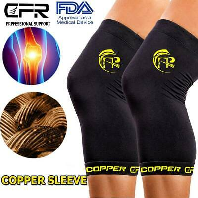 Copper Knee Support Compression Sleeve Brace Sport Joint Pain Relief Arthritis