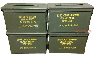 4 PACK -50 CALIBER 5-56mm AMMO CAN M2A1 50CAL METAL AMMO CAN BOX Very Good Empty