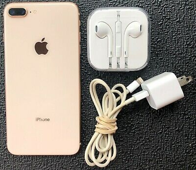 EUC PRE-OWNED APPLE IPHONE 8 PLUS ROSE GOLD 64GB WITH EAR BUDS - CHARGER NO BOX