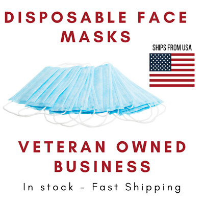 50 PCS Disposable Face Mask Non-Medical 3-Ply Earloop Mouth Cover Breathable