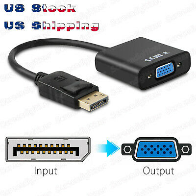FHD Display Port DP Male to VGA Female Adapter Converter Cable Lead 1080P Black