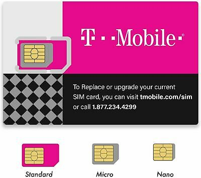 New US 0 T-Mobile GSM 4G LTE Factory 3 in 1 Triple Cut Sim Card