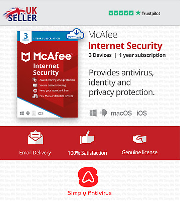 McAfee Internet Security 2021 - 3 Devices - 1 Year - 5 Minute Delivery by Email