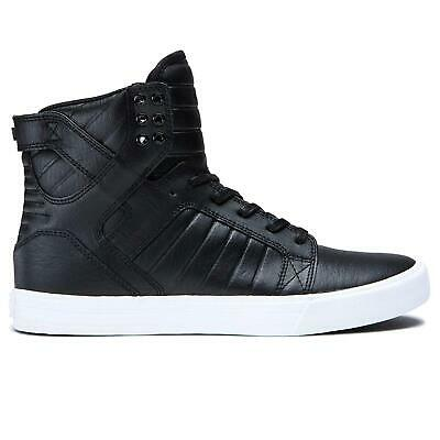 SUPRA Mens Shoes Skytop Leather Low Top Pull On BlackWhite Size 8-0 rueF