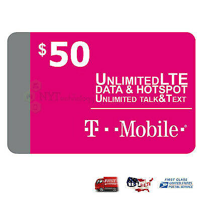 Preloaded T-Mobile 1 - 2 Month 40 5060 Unlimited data SIM Card