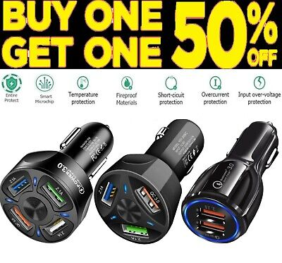 2 3 4 Port USB QC 3-0 Fast Car Charger for Samsung iPhone Android Cell Phone LG