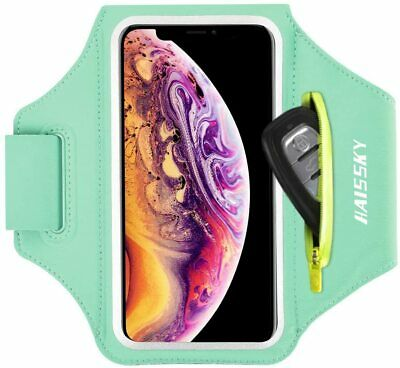 Cell Phone Armband with Zipper Pocket for Car Key Mint Green Up to 6-7