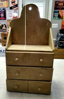VINTAGE WOODEN 3 DRAWER SPICE CABINETCOUNTER WALL MOUNT