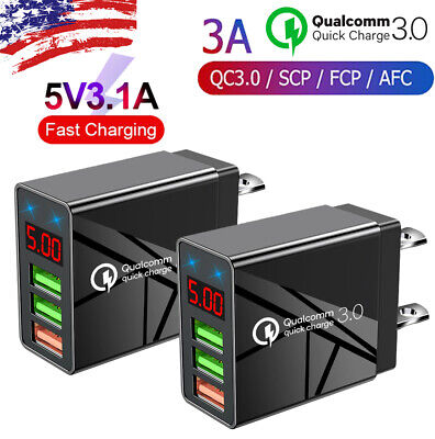 2PACK 3 Port Fast Quick QC 3-0 USB Hub Wall Charger Power Charge Adapter US Plug