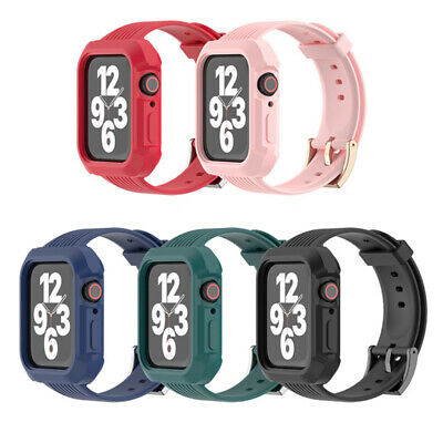 40443842mm Silicone Band Strap wBumper Case for iWatch Series 6 5 4 3 2 SE