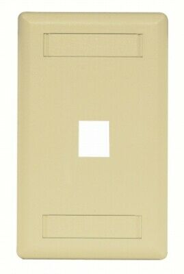 1 Port Rear Loading Single Gang Faceplate Electric Ivory