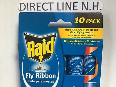 RAID Fly Ribbon Flying Insect Glue Strip 10 pack Bug Trap  Same Day Ship