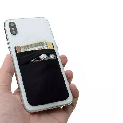 Two Black Pockets Cell Phone Credit Card Holder Wallet Sticker for Key Adhesive