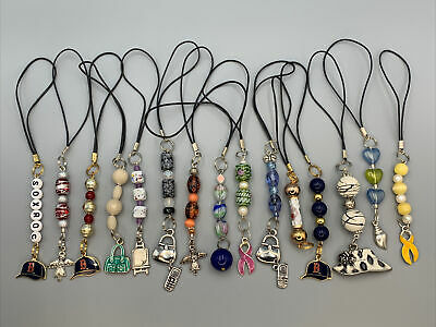 Lot of 15 Beaded - Charm Cell Phone Strap Ornaments Estate Find Red Sox Hearts