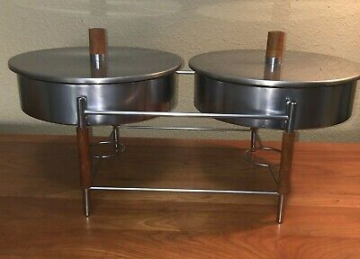 Vtg PYREX Clear 595 Double Chafing Warming Dish -Stand teak wood handles knobs