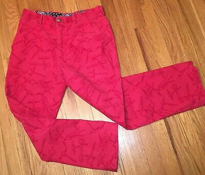 Lilly Pulitzer Mens Red Corduroy 30R Phipps Pant Corkscrew Bottle Opener Cords