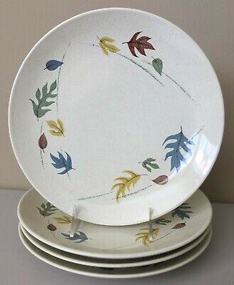 4 Franciscan Ware 10-5 Dinner Plates AUTUMN LEAVES Fall Colored Speckled MCM