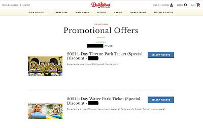 DOLLYWOOD - SPLASH COUNTRY Discount Tickets Promo Savings Tool Adult - Child