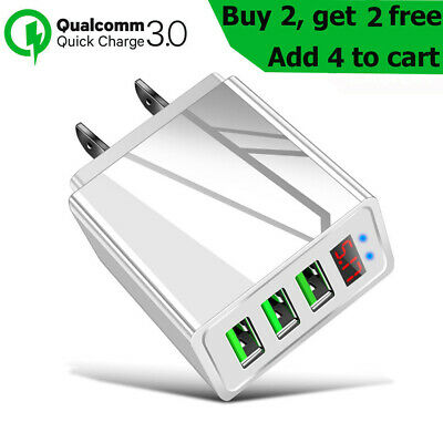 3 Port USB Home Wall Fast Quick Charger for Cell Phone Samsung iPhone Android