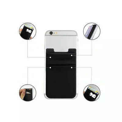 Two Black Pocket Cell Phone Credit Card Holder Wallet Sticker for Key Adhesive
