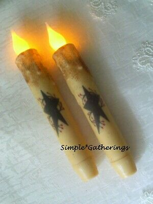 NEW Black Star Berries IVORY TIMER Taper Candles 2 pc Primitive 6-5 Grungy