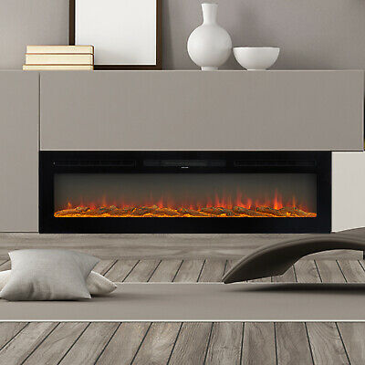 60 Electric Fireplace Recessed-Wall Mounted Heater Multicolor Flame with RC
