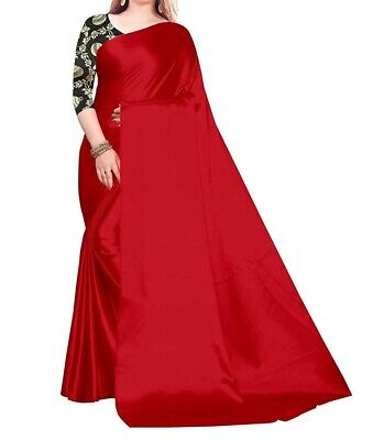 Solid Satin Silk Saree Women Bollywood Indian Sari With Unstitched Blouse Red