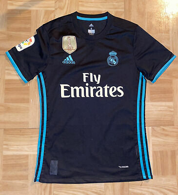 Adidas Sz Mens Small Real Madrid Replica Soccer Jersey BlackTealFly Emirates