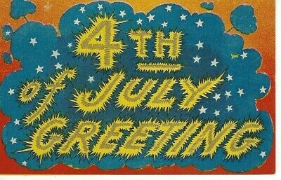 ANTIQUE  PATRIOTIC Postcard      4TH OF JULY GREETING